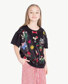 Sweat-shirt paillettes Noir Enfant GS82RB-02