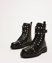 Schnürstiefelette aus Leder mit Nieten Schwarz Frau 999TCP020-01