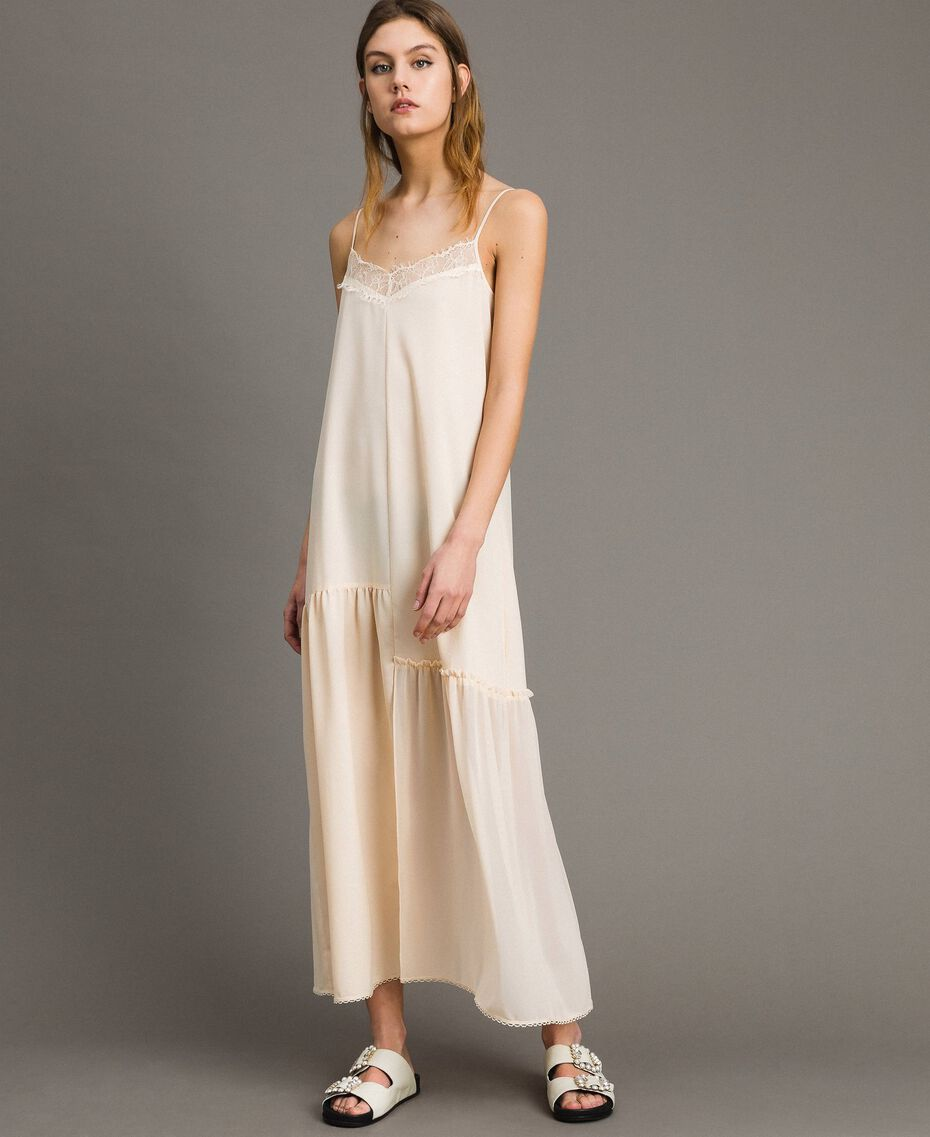 Crêpe de Chine slip dress with lace Black Woman 191ST2064-02