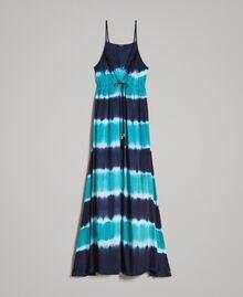 """Vestido largo tie-dye de rayas Multicolor Blunight / Off White / Verde """"Green Bay"""" Mujer 191MT2322-0S"""