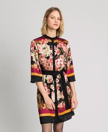 Shirt dress with floral scarf print Placed Scarf Print Woman 192TP2601-02