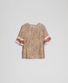 Bluse mit Blumen-Animal-Print Leopardenprint Frau 192TP2742-0S