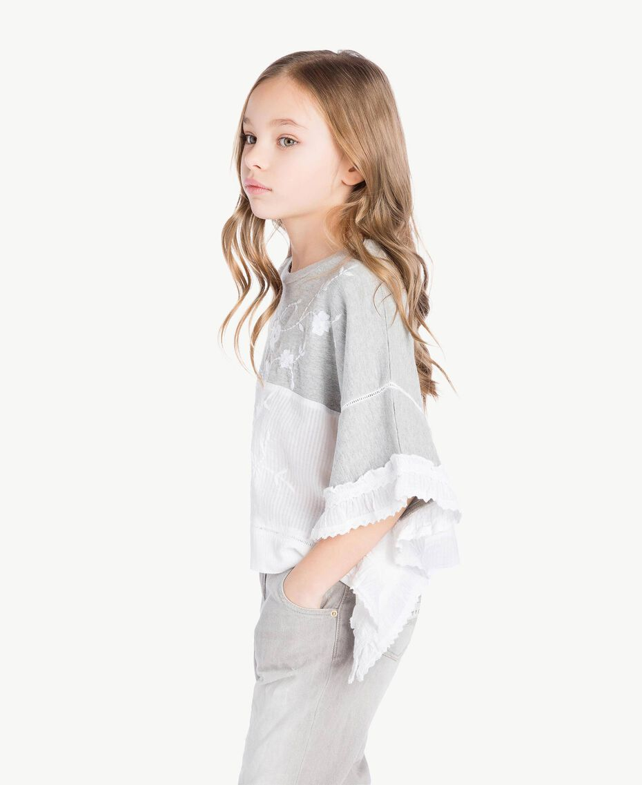 "Embroidered tunic ""Papyrus"" White Jacquard Stripes / Light Melange Grey Child GS82LB-03"