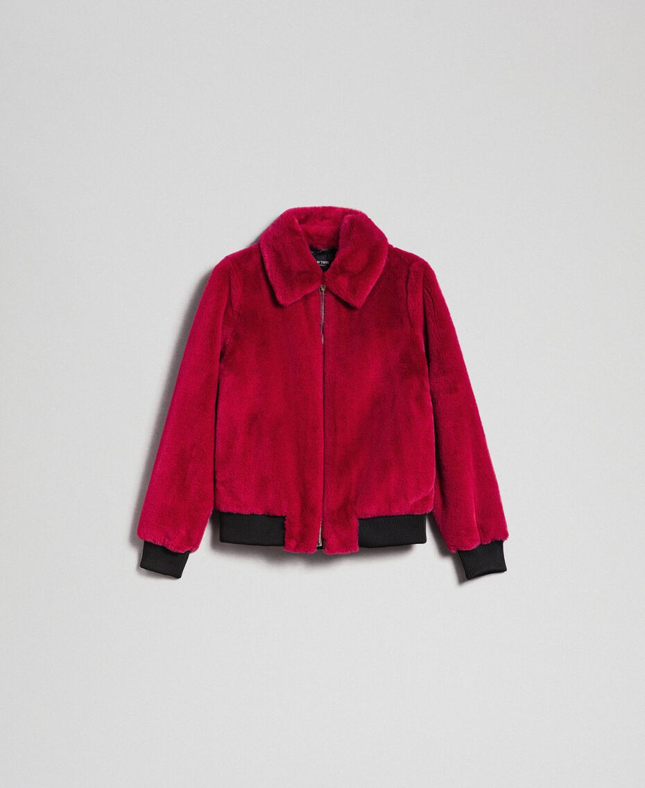 Faux fur bomber jacket Red Amaranth Woman 192MP2042-0S