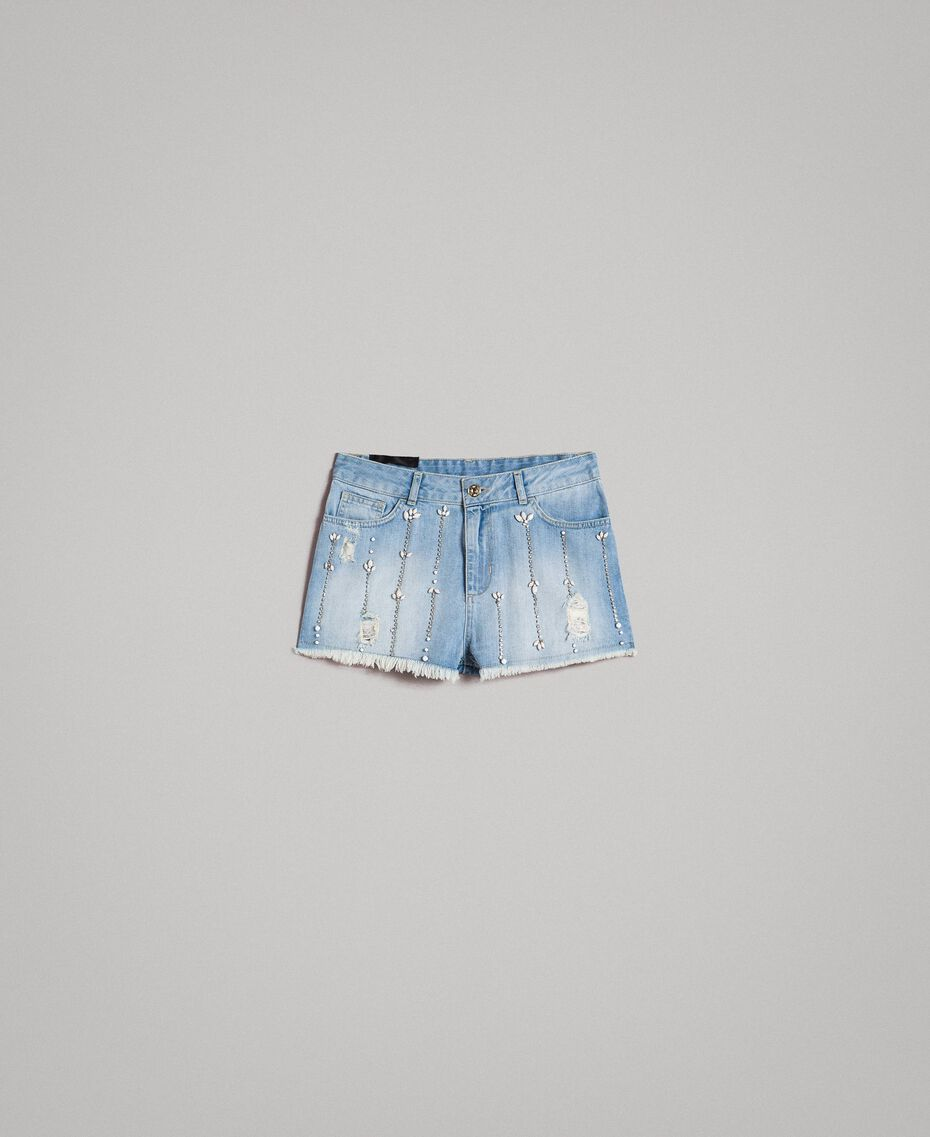 Destroyed jeans shorts with rhinestones and stones Denim Blue Woman 191MT2181-0S