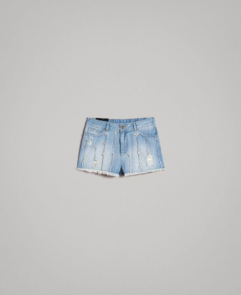 Jeansshorts im Destroyed-Look mit Strass und Ziersteinen Denimblau Frau 191MT2181-0S