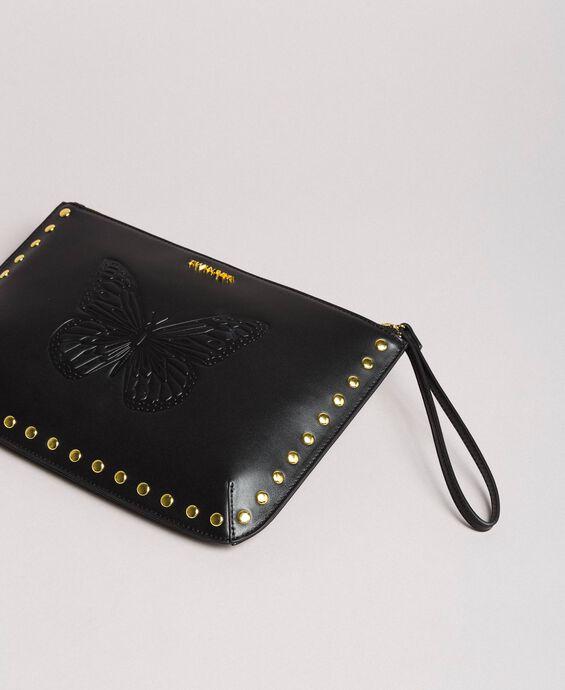 Studded leather clutch bag