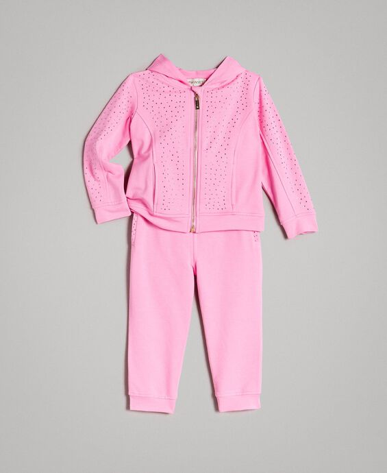 Stretch cotton tracksuit with rhinestones
