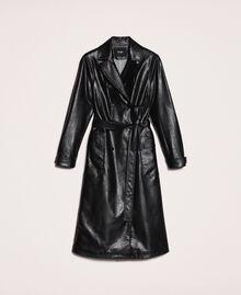 Trench en similicuir avec ceinture Noir Femme 201MP2031-0S