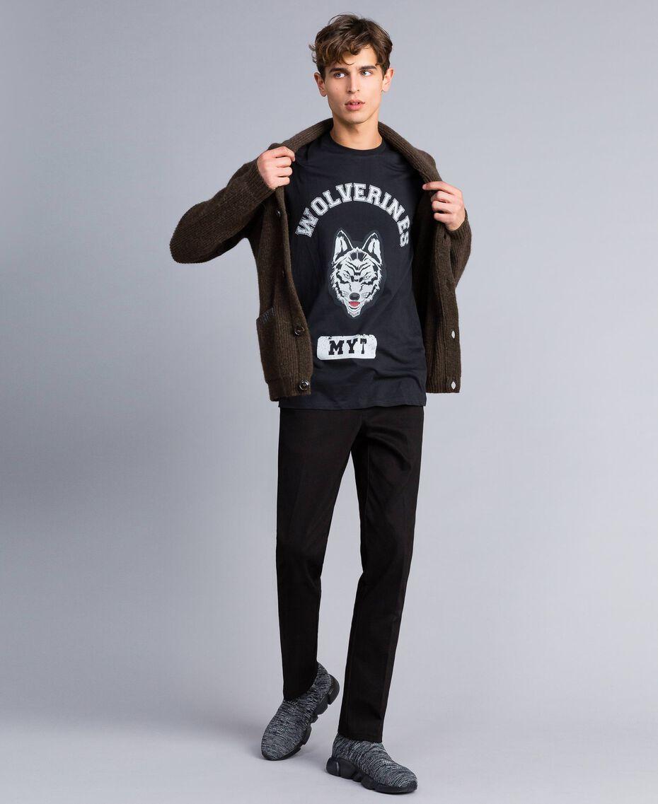 T-shirt in cotone con stampa Nero Uomo UA82GB-0T