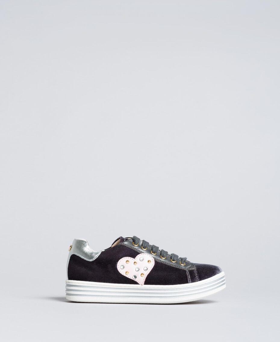 Sneakers in velluto Grigio Grafite Bambina HA88DN-02
