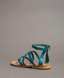 Leder-Sandalen mit Riemchen Keramikblau Frau 191TCT09U-04