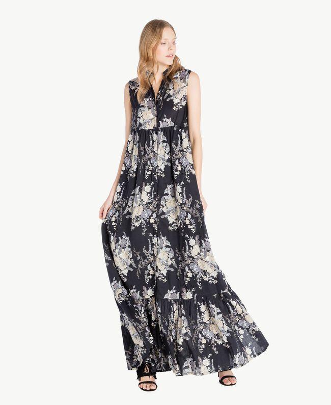 Langes Kleid mit Print Blumenbouquetprint Schwarz Frau YS82PH-01