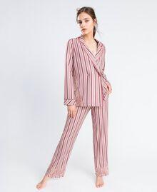 Pyjama mit Streifenmuster und Spitze Mehrfarbige Streifen Barockrosa Frau IA8DNN-0S