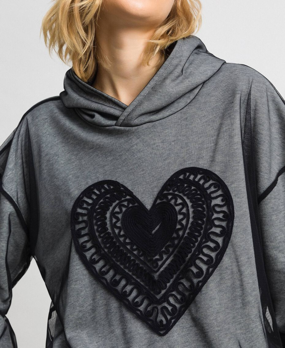 Sweatshirt aus Tüll mit Stickerei Hellgrau-Mélange Frau 192LI2TBB-05