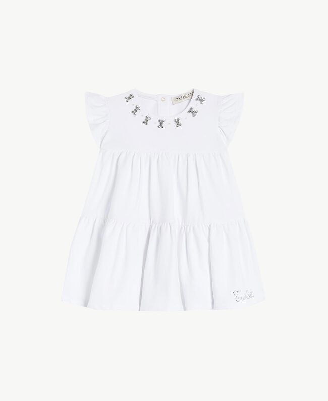 "Rhinestone dress ""Papers"" White Child FS823A-01"