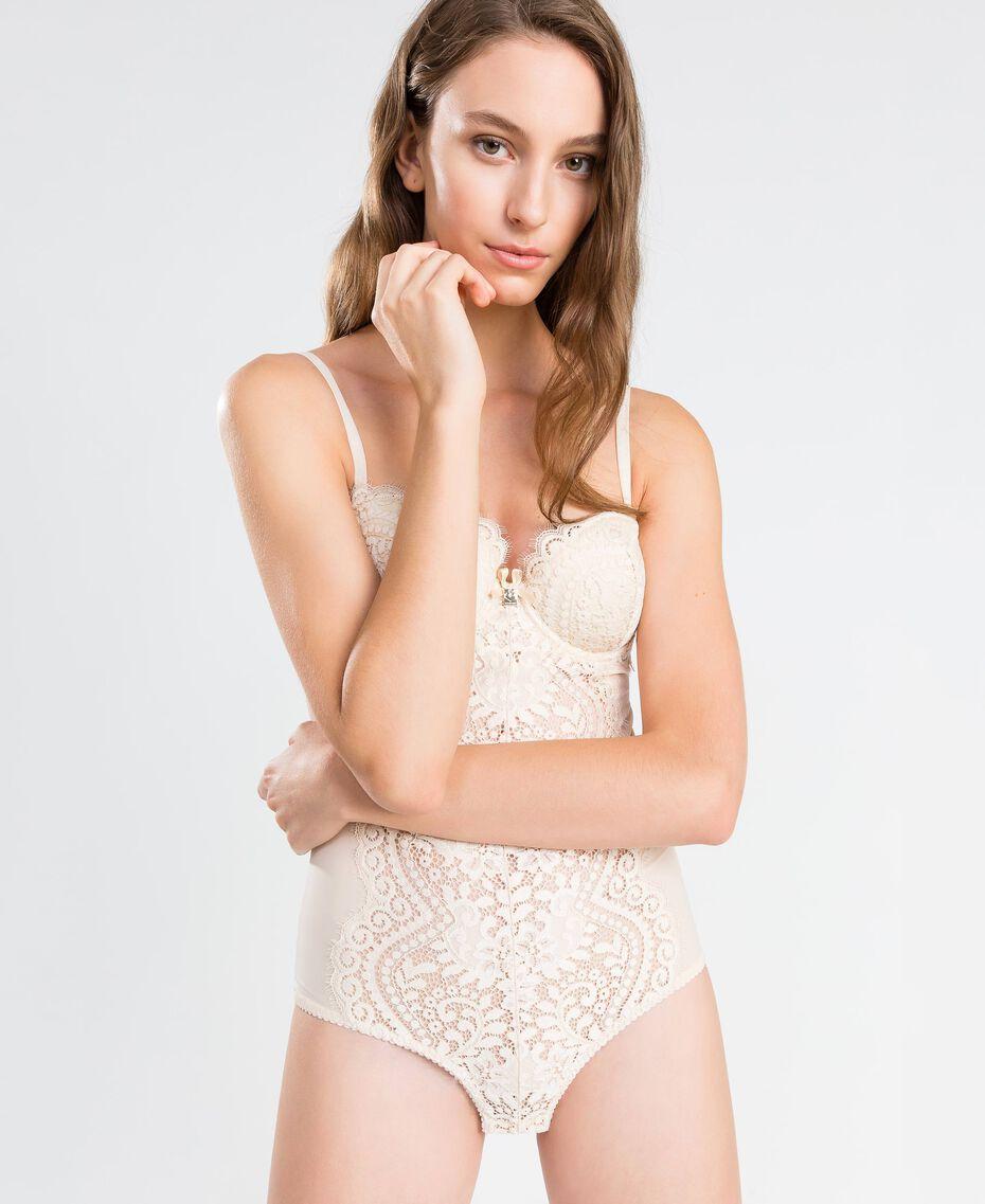 Body aus Tüll und Festonspitze Weiß Frau IA8C00-0S