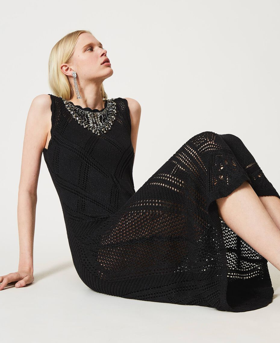 Long crochet dress with embroidery Black Woman 211TT3102-01