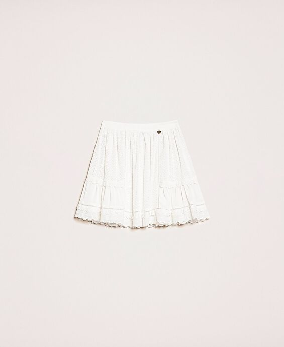 Jupe corolle en broderie anglaise