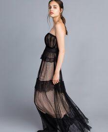 Robe longue bustier en tulle plumetis et dentelle Noir Femme TA82XC-01