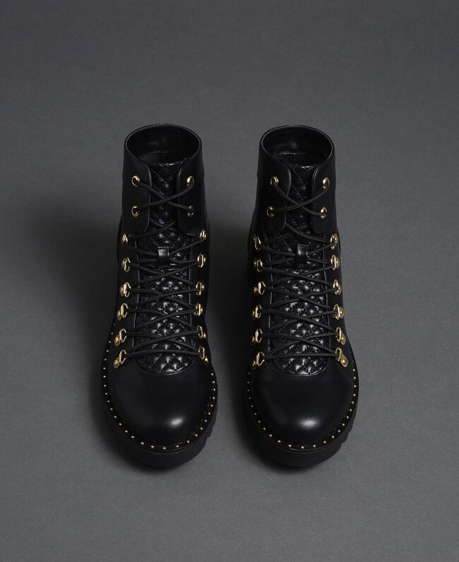 Combat boots with trekking-style fastening Black Woman 192MCP09A-04