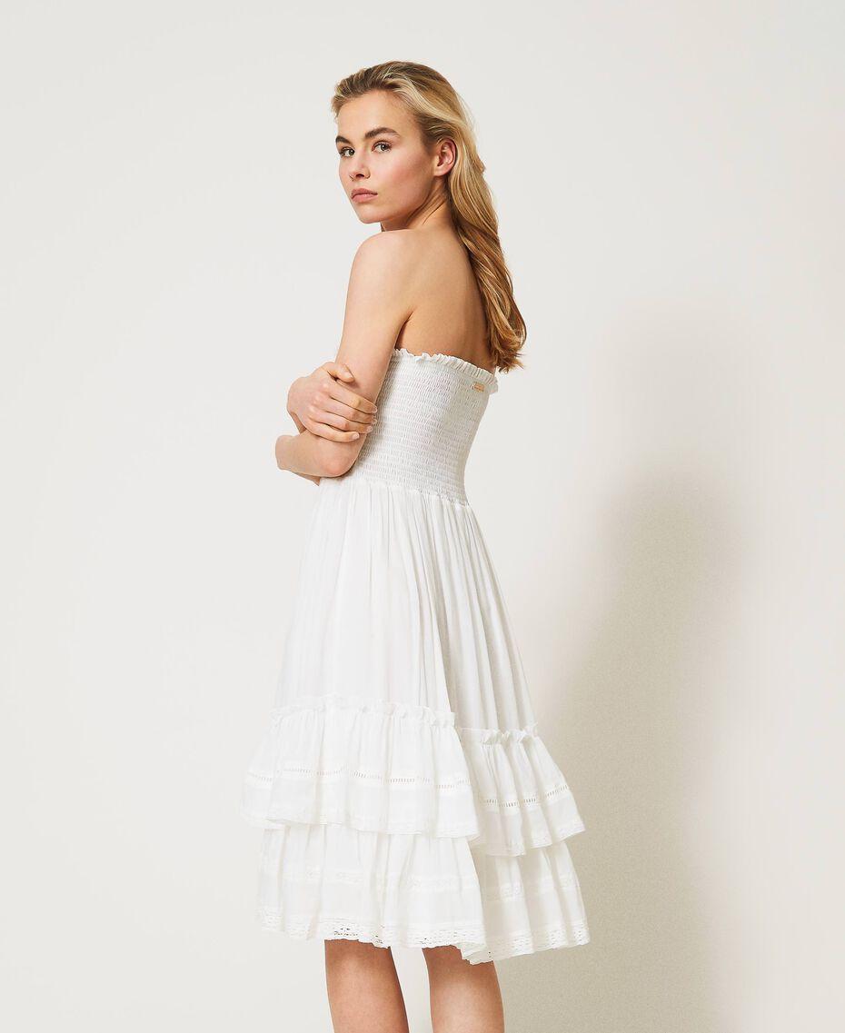 Платье-юбка с оборками и кружевом Слоновая кость женщина 211LM2BPP-01