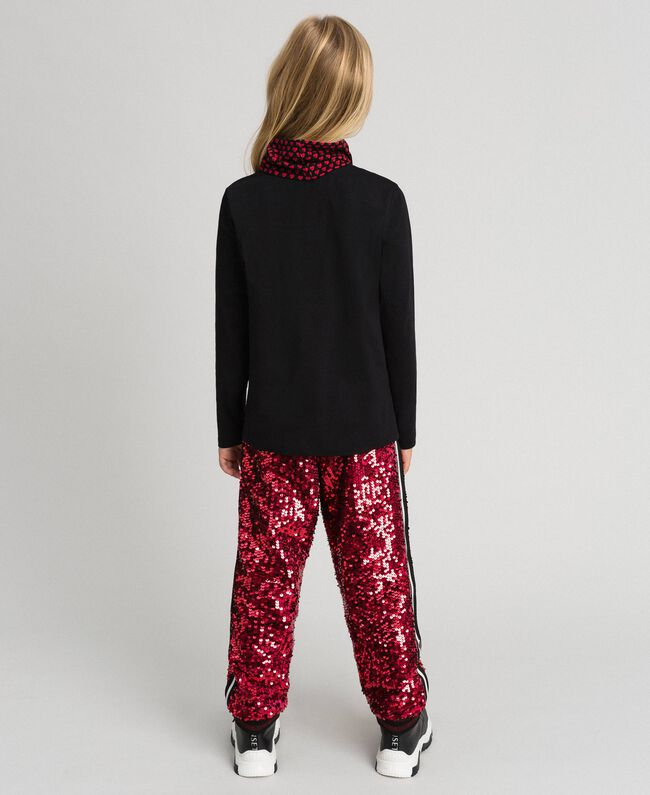Pantalon de jogging en velours avec sequins Rouge Ruby Wine Enfant 192GJ2092-03