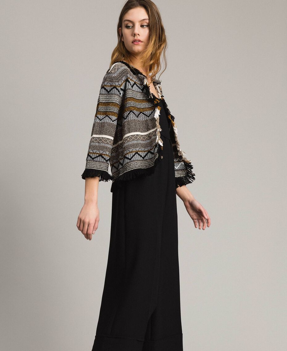 Round-neck jacket with inlay and fringes Multicolour Neutral Grey Striping Woman 191TT3161-02