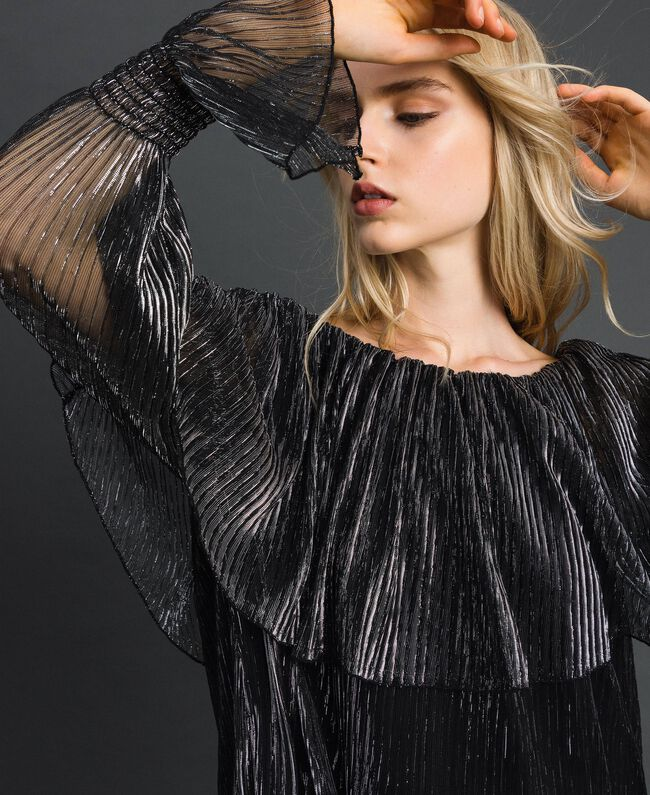 Metal creponne tulle blouse Black / Silver Woman 192MT2142-01