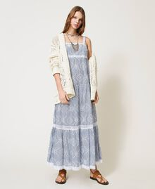 Lace stitch maxi cardigan with fringes White Snow Woman 211TT3030-0T