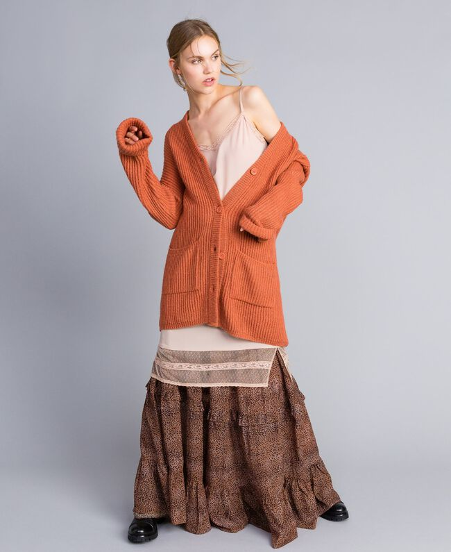 """Mohair blend cardigan """"Redwood"""" Red Woman SA83BC-0T"""