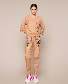 Poplin joggers with embroidery Elm Green Woman 201ST2026-01
