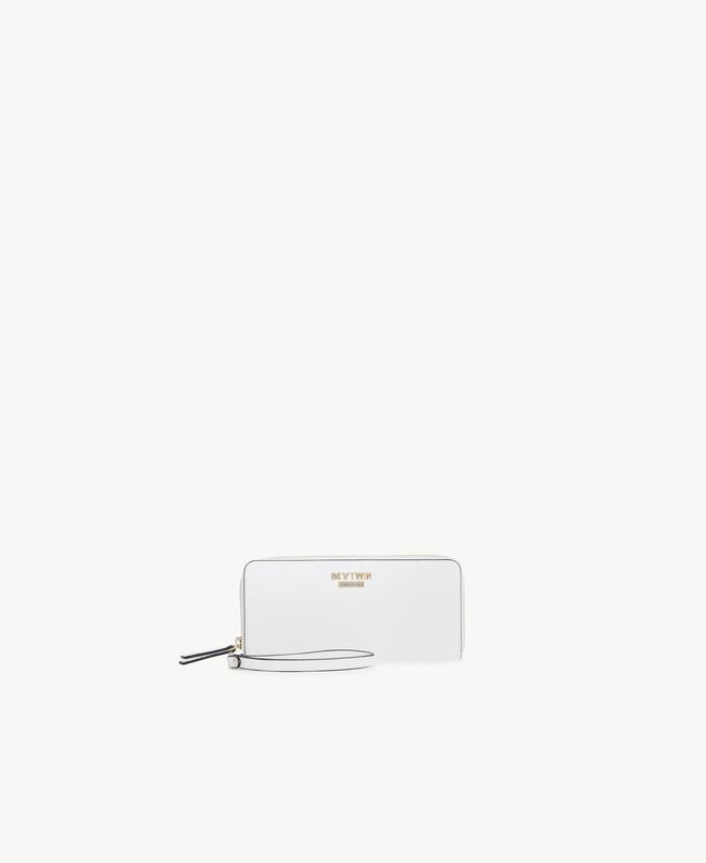 Faux leather wallet Optical White / Black Woman RS8TCY-01