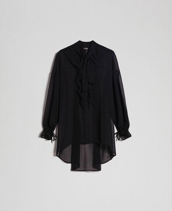 Langes asymmetrisches Hemd aus Georgette