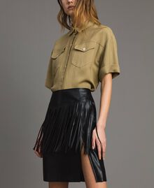 Faux leather mini skirt with fringes Black Woman 191TT2321-04