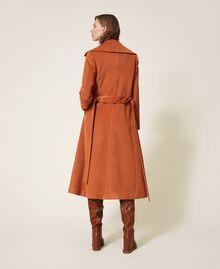 Abrigo largo de paño Rojo Terracota Mujer 202LI2CAA-04