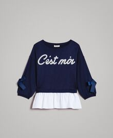 Sweat shirt au point de Milan et popeline Bicolore Indigo / Blanc Optique Enfant 191GJ2212-01