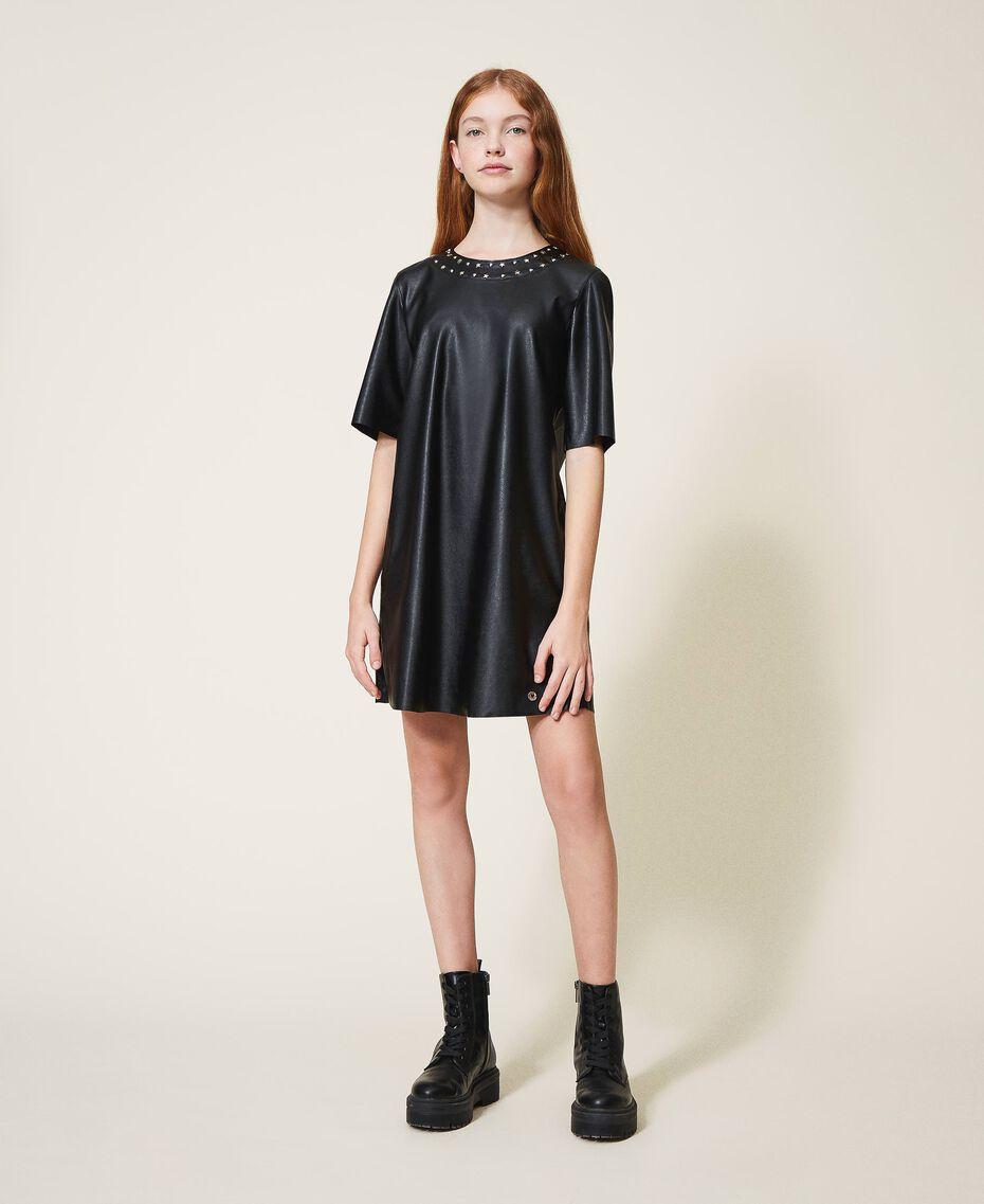 Платье из искусственной кожи со звездочками Черный Pебенок 202GJ2831-01