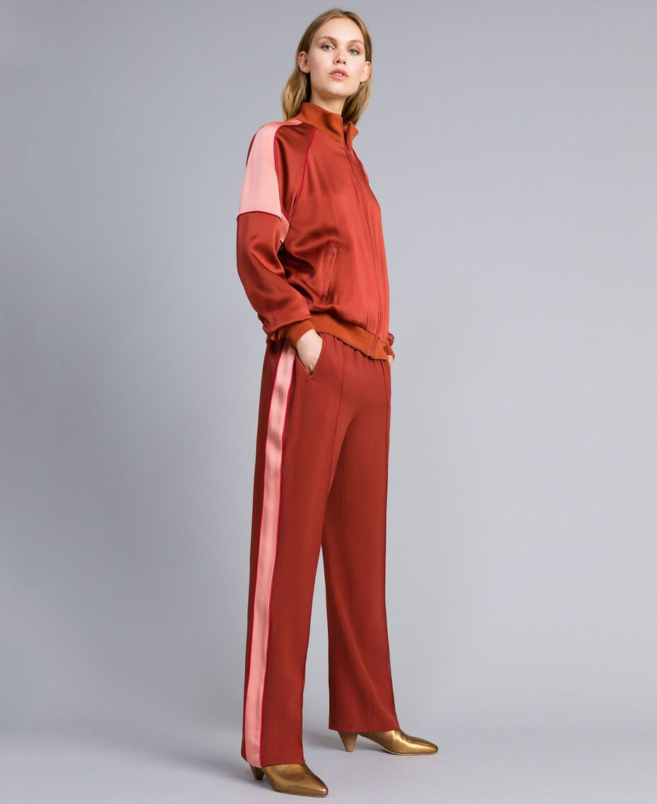 "Envers satin trousers Bicolour ""Burnt"" Orange / Sand Pink Woman TA824W-02"