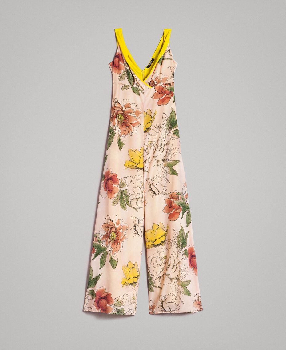 "Printed crêpe de Chine jumpsuit All Over ""Shell"" Beige Flower Print Woman 191MT2214-0S"
