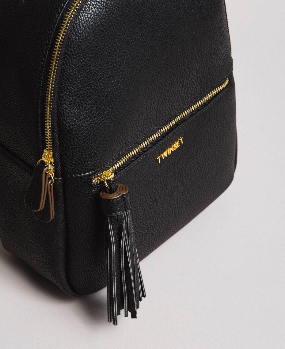 Rucksack aus Lederimitat mit Quaste Schwarz Frau 191TA7603-02