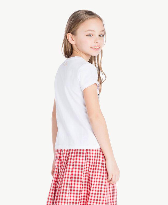 """T-shirt paillettes Blanc """"Papers"""" Enfant GS82RA-04"""