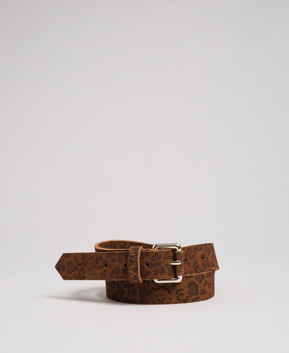 Animal print leather belt
