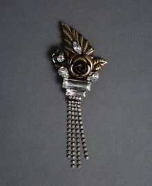 Rose, bezel and rhinestone brooch Aged Brass Woman 192TO530K-01