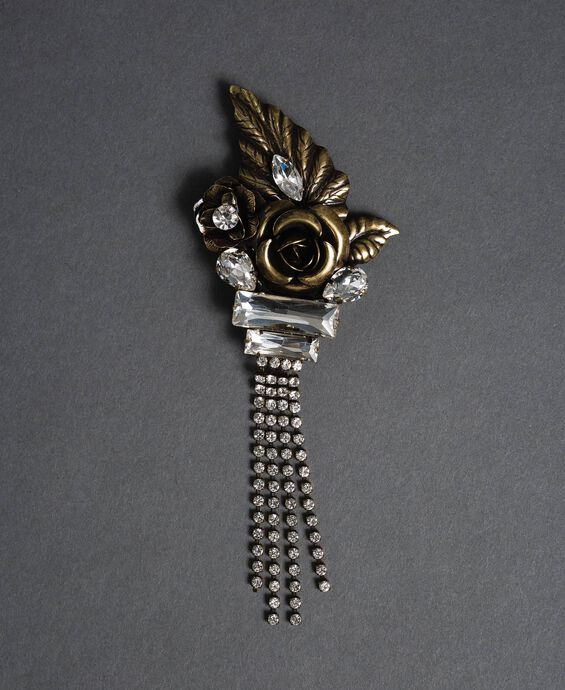 Rose, bezel and rhinestone brooch