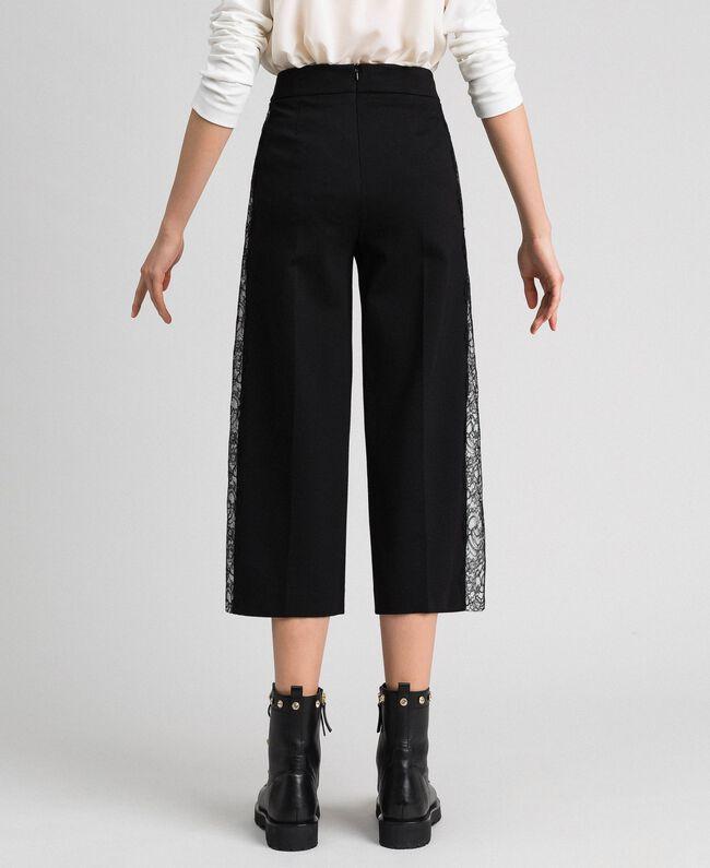 Wide-Leg-Hose mit Spitze Zweifarbig Schwarz / Schneeweiß Frau 192TP2097-04