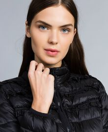 Short shiny nylon padded jacket with ruches Black Woman PA82GS-04