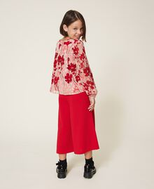 """Floral georgette blouse Peach / """"Cherry"""" Red Flowers Animal Print Child 202GJ262B-03"""