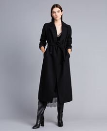 Manteau long croisé en drap Noir Femme TA821L-01