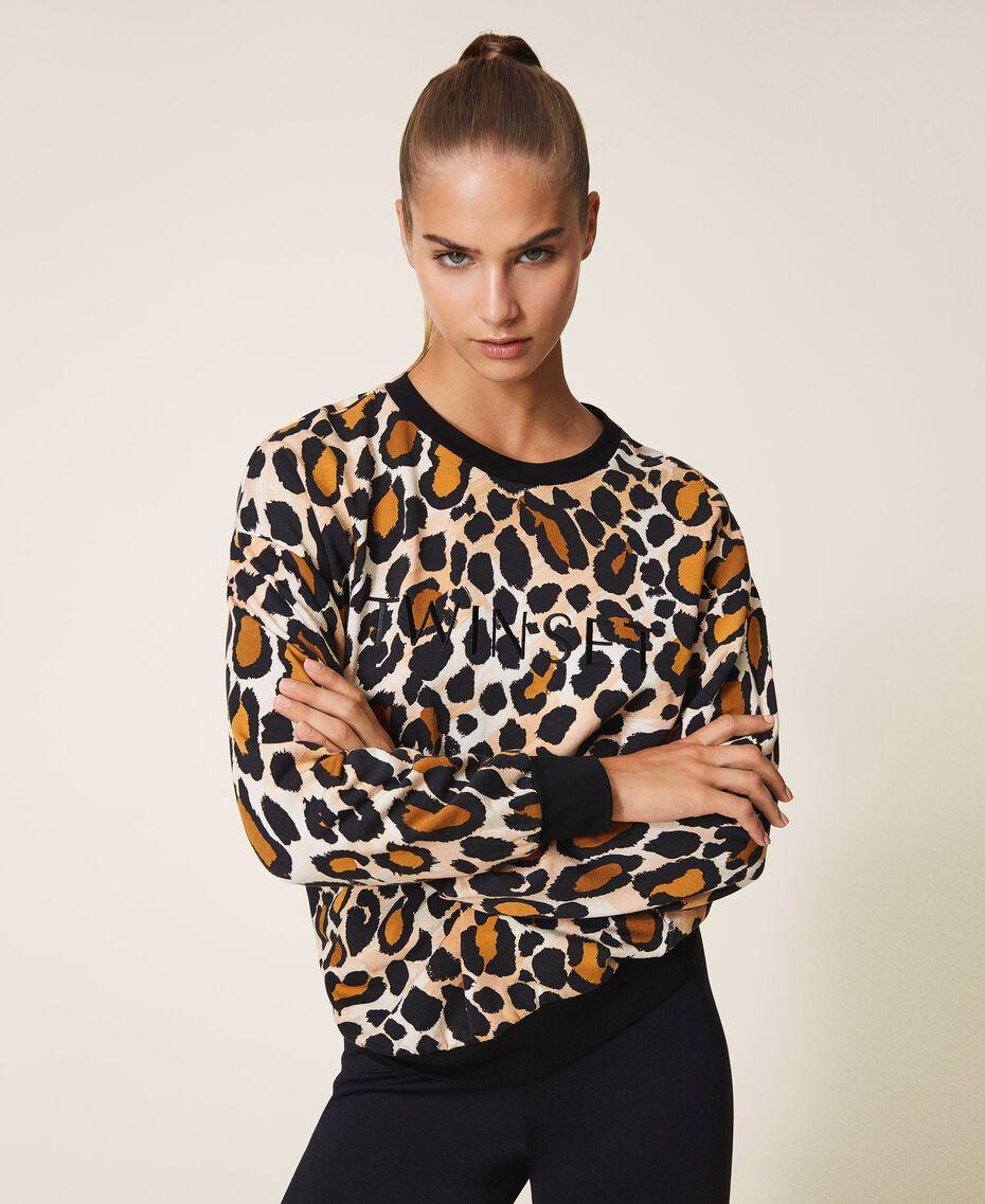 Sweatshirt mit Animalprint Animalier-Print Frau 202LL2ESS-01